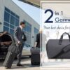 Business professional about to board private jet while airhostes